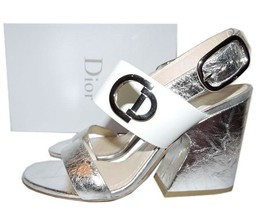 $995 Christian Dior Open Toe Silver Leather Ankle Sandals Pumps Heels Sh... - $399.91