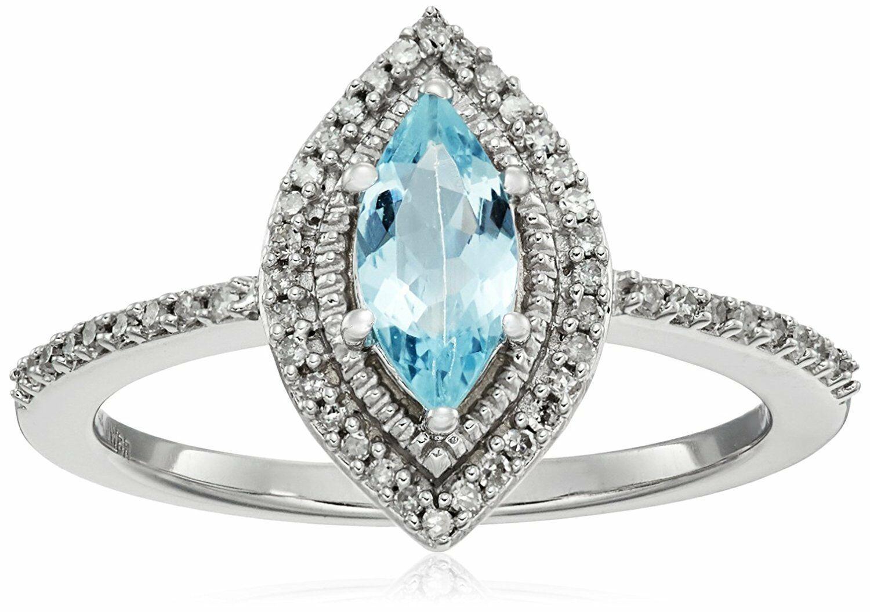 10K White Gold Marquise Aquamarine white Diamond Fashion Engagement Ring Size 8