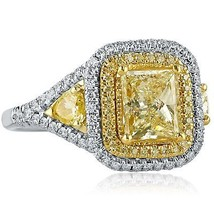 2.73 TCW Princess Cut Pear Side Yellow Diamond Engagement Ring 18K White Gold - $5,642.01