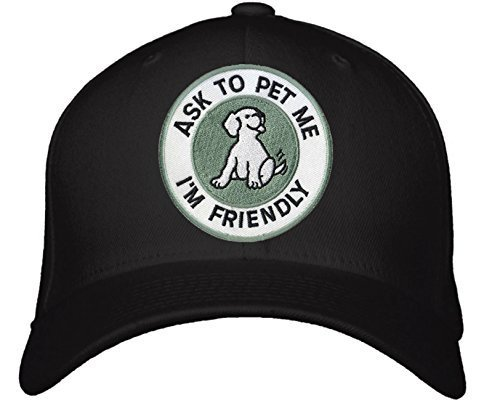Ask To Pet Me I'm Friendly Hat - Adjustable Mens Black - Funny Quote Dog Cap