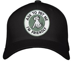 Ask To Pet Me I'm Friendly Hat - Adjustable Mens Black - Funny Quote Dog... - $15.79