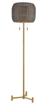 Wicker Rattan Shade Aged Brass Base Organic Mod Farmhouse Floor Lamp Horchow - $232.00