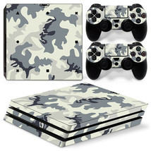 Sony PS4 PRO White Camo Console & 2 Controllers Decal Vinyl Skin Wrap Sticker - $13.83