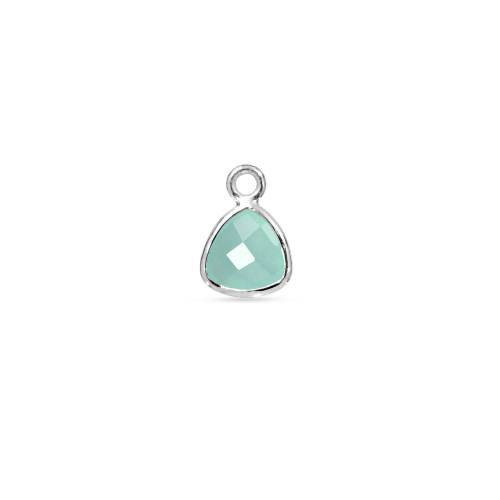 Primary image for Bezel Drop, Aqua Chalcedony Faceted Triangle, Sterling Silver, 9mm, 1pc (9489)/1