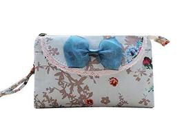 Light Blue Floral Pattern Cell Phone Organizer Bag Utility Zipper Coin Bag