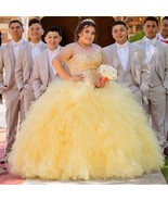Ball Gown Plus Size Yellow Pageant Gown Quinceanera Gown - £166.04 GBP+