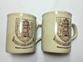 2 Vintage Northampton Coat of Arms Mugs England Castello Fortior Concordia - $23.36