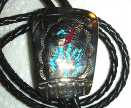 VTG WILLIE NEZZIE SOUTHWEST TURQUOISE CORAL INLAY HAND STAMPED BOLO TIE ... - $237.99