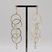 925 STERLING SILVER GOLD PL PENDANT EARRINGS WITH CIRCLES BY MARIA IELPO ITALY image 2