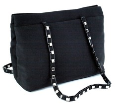 Auth SALVATORE FERRAGAMO Black Nylon& Silver Metal Chain Tote Shoulder B... - $177.21