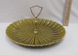 Vintage California USA Avocado Green  Pottery Appetizer Plate Center Han... - $16.82