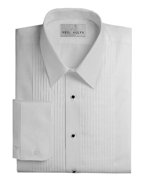 "Lay-Down Collar 1/4"" Pleats Tuxedo Shirt Cummerbund, Bow-Tie, Cuff Links & Studs"