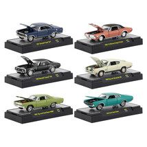 Detroit Muscle 6 Cars Set Release 45 IN DISPLAY CASES 1/64 Diecast Model Cars by - $60.54