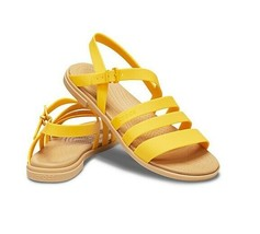 Crocs Tulum Women's Sandal 206107-75Q Buckle Strap Canary/Tan Sz 6 8 9 - $19.96