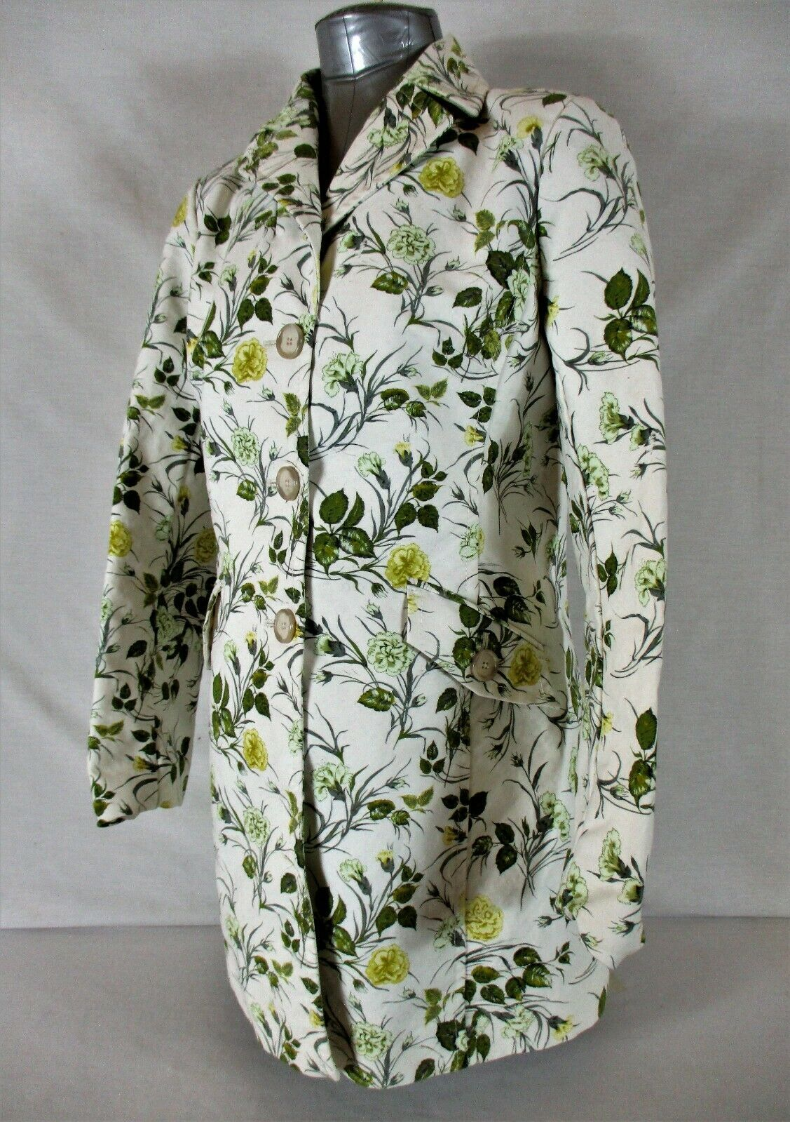 ANN TAYLOR womens Small L/S ivory FLORAL soft FULLY LINED button down jacket Y)