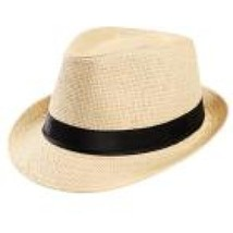 Unisex summer hat Trilby Gangster Cap Beach Sun Straw Hat Band Sunhat ch... - $9.50