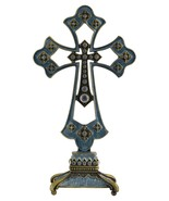 "Decorative Blue  Jeweled Standing Cross Rhinestones 6""X 5"" - $15.95"