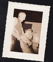 Old Vintage Antique Photograph Older Man With Puppy Dog Standing Up Agai... - $6.93
