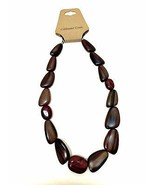 Genuine Wood & Stone Necklace Coldwater Creek Brown Deep Red 21 inches Long - $33.66