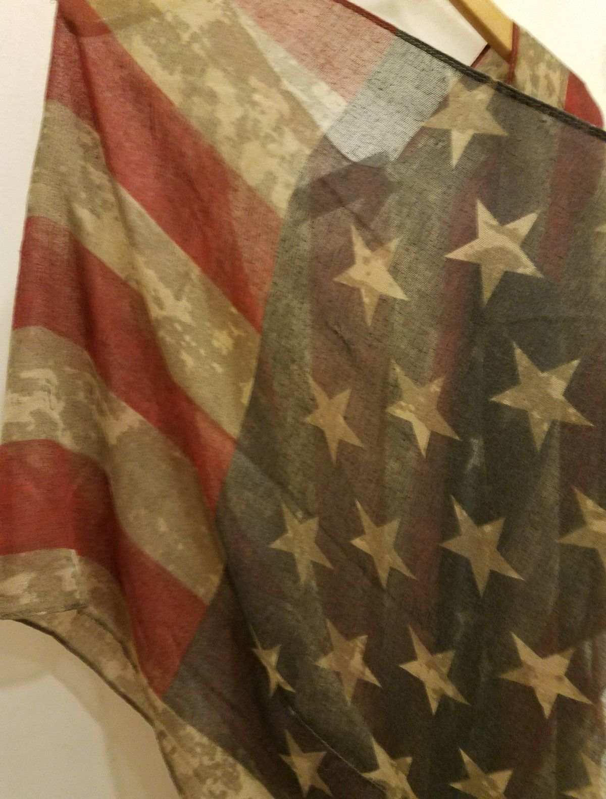 American Flag Shawl Wrap Stars Stripes Armholes Vtg Look July 4th One Size NWT