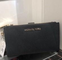 NWT MICHAEL KORS SAFFIANO LEATHER JET SET TRAVEL DOUBLE ZIP WALLET IN BLACK - $87.50