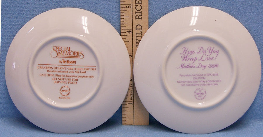 Lot 2 Avon Collector Plates Small Mothers Day 1985 & 1992 Original Boxes