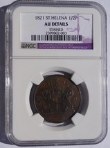 1821 Saint Helena & Ascension 1/2 Penny World Coin - NGC AU Details - $179.99