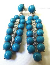 Retro Silver tone metal Crystal Blue Turquoise Faux dangle Feather Leaf ... - $17.82