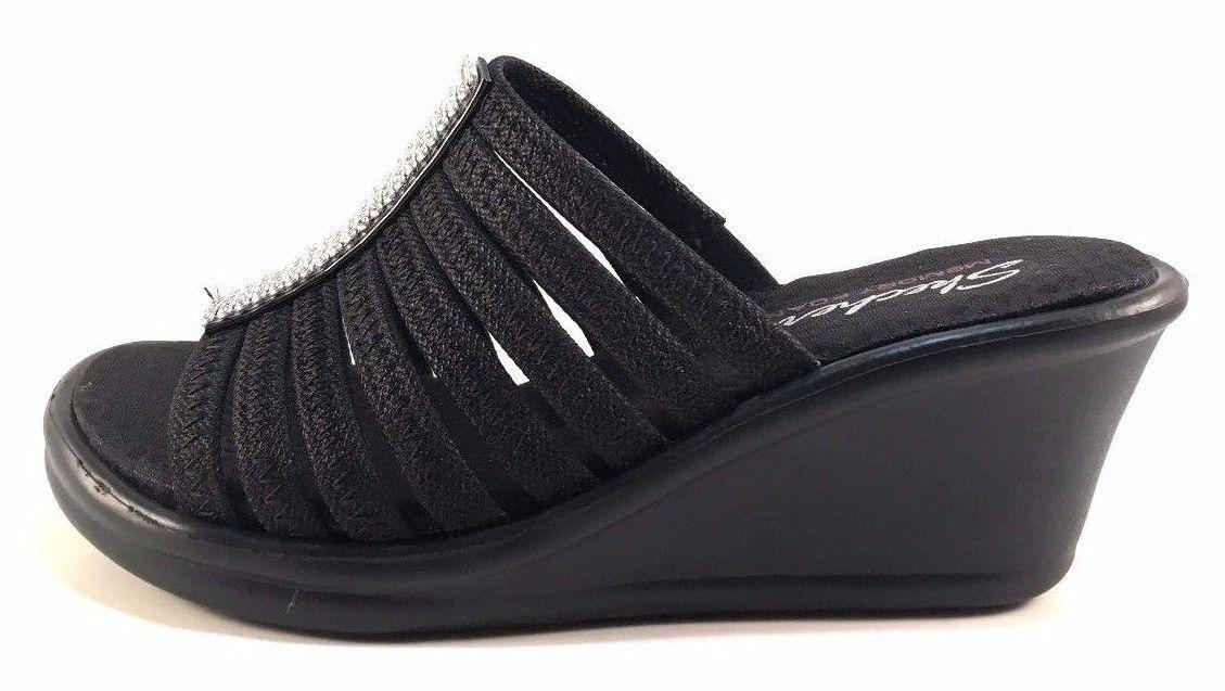 e0d27e311cc Skechers 38562 Memory Foam Wedge Platform Slip On Sandals Choose Sz Color