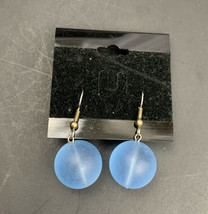 Vintage Dangle Earrings Lucite Style Frosted Plastic Blue Bead Pierced NOS - $14.80