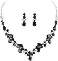 Crystal Avenue Elegant Clear and Opaque Black Rhinestone Teardrop Bib St... - $98.99