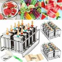 Stainless Steel Reusable Ice Cream Making Mould 10 Popsicle Molds DIY Maker - $96.37 CAD