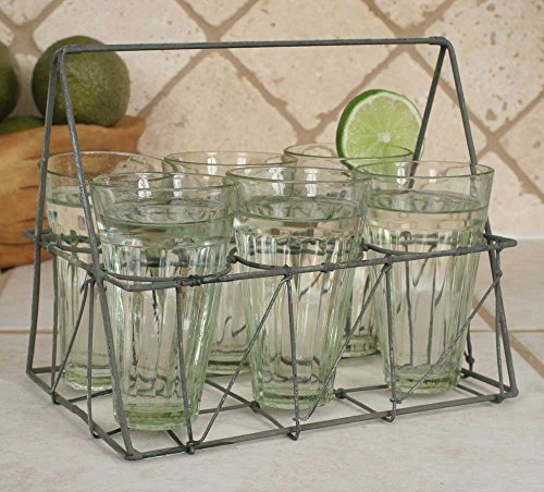 Country Kitchen Decor 6 Piece Glass Set w/ Galvanized Carrier Tote