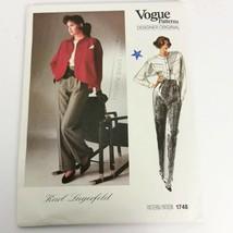 Vogue 1748 Karl Lagerfeld Size 8 Pants Top Jacket Designer Original Uncu... - $19.99