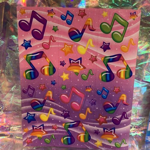 Lisa Frank 90s Complete Sticker Sheet S248 Music Notes Neon Rainbow Fantasy Mint
