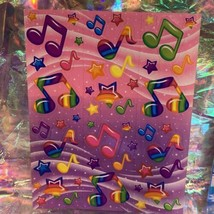 Lisa Frank 90s Complete Sticker Sheet S248 Music Notes Neon Rainbow Fantasy Mint
