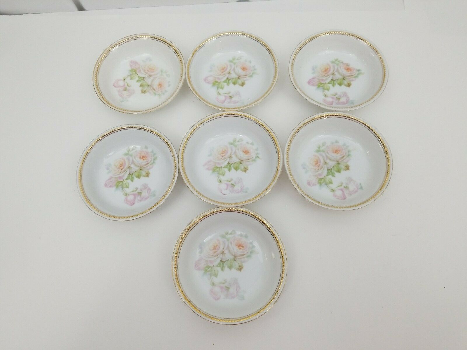 "PK Silesia China Dessert Bowls Lot of 7 White Roses Gold Trim 5 3/8"" Poland image 1"