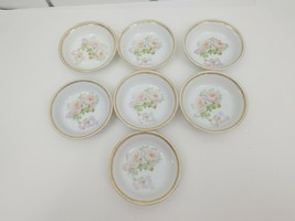 "PK Silesia China Dessert Bowls Lot of 7 White Roses Gold Trim 5 3/8"" Poland - $24.18"