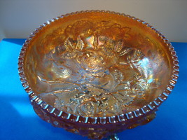 Imperial glass open rose footed carnival glass bowl. - $15.00
