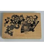 "Asian Chinese Flowers Fan Collage Artwork #99272 2.75"" x 4"" inkadinkado - $4.99"
