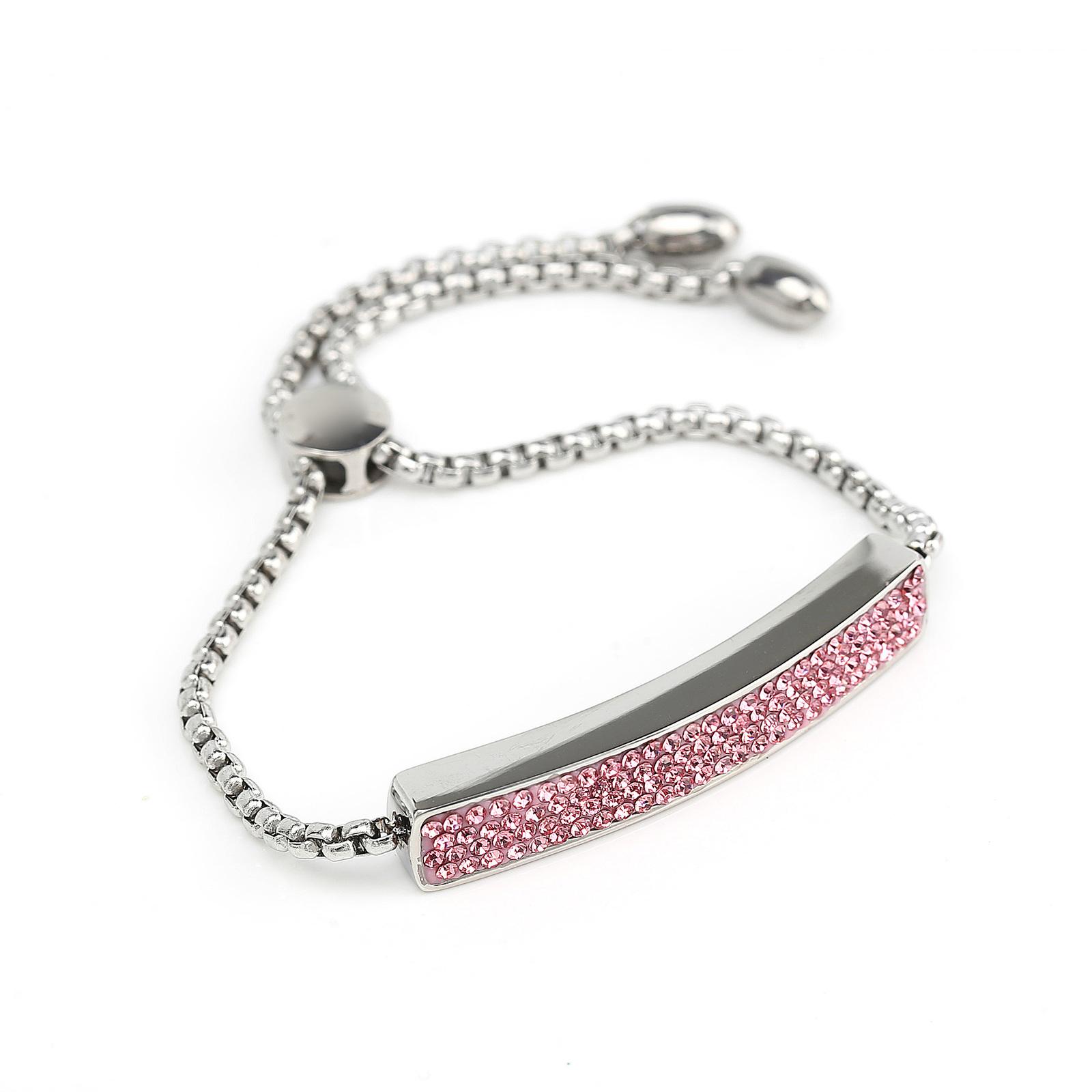 UNITED ELEGANCE Silver Tone Bolo Bar Bracelet With Pink Swarovski Style Crystals