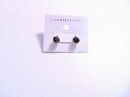 "Charter Club 3/8""Gold Tone Blue Stone Stud Earrings J362 - $10.55"