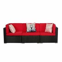 U-Eway Patio PE Rattan Wicker and Steel Frame Set with Cushion,Outdoor/I... - €272,59 EUR
