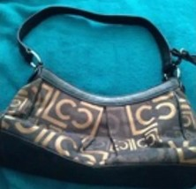 Liz Claiborne beautiful black & bronze colored cloth handbag beautiful condition - $64.99