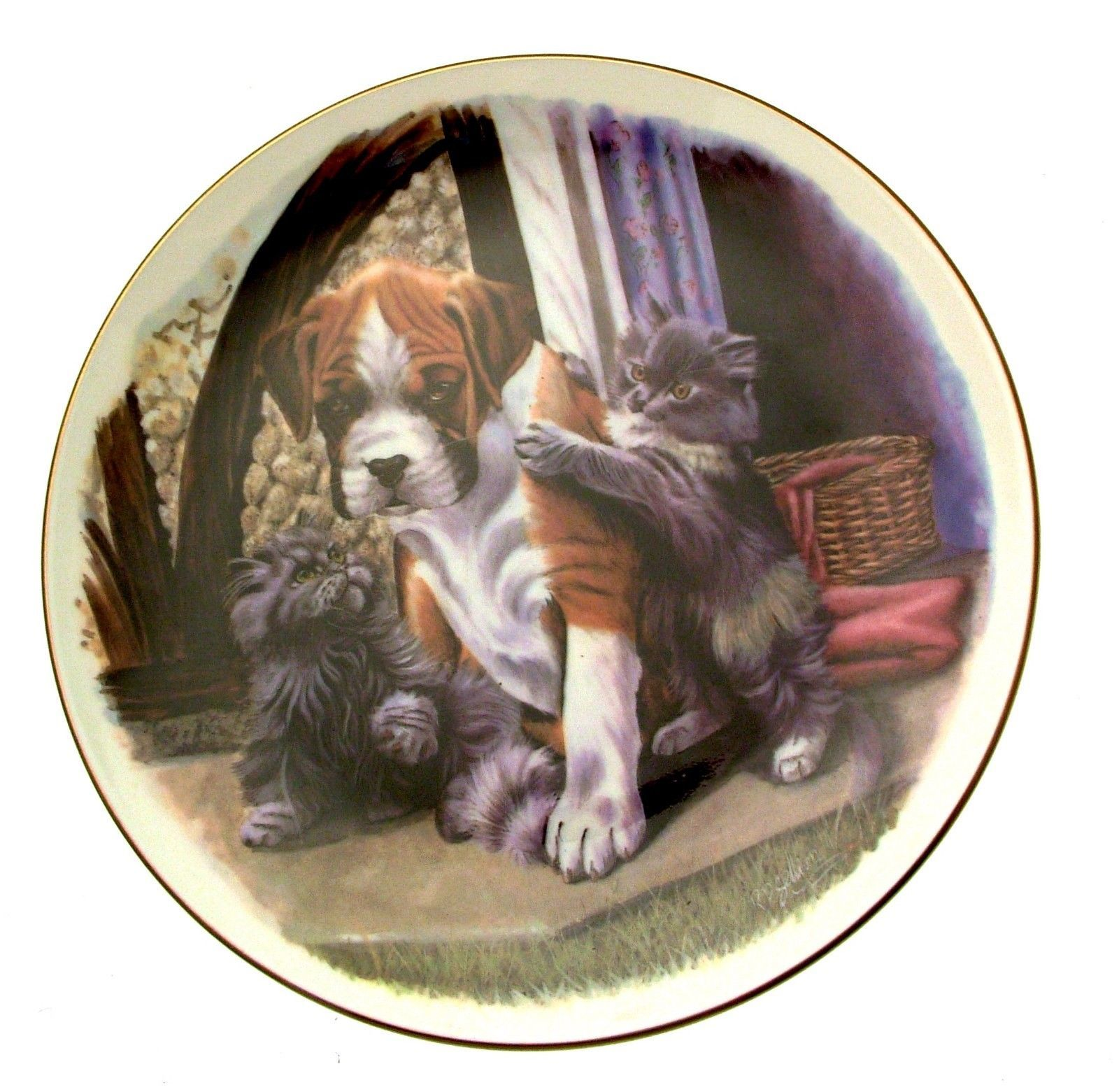 Royal Albert Playful Friends Please Join In Cat Plate Dog Plate Kitten plate Pup