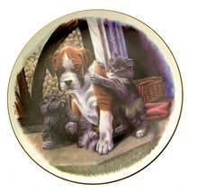 Royal Albert Playful Friends Please Join In Cat Plate Dog Plate Kitten p... - $33.97