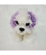 "6"" Aurora Mini Puppy Dog White w Purple Ears Plush Stuffed Lovey Toy B84 - $34.97"