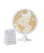 Kate Aspen Globe Wedding Guest Book Alternative,with 100 Blank Wooden He... - €37,14 EUR