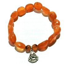 Laughing Buddha Natural Red Carnelian Hand Craft Tumbled Shape Bracelet - $10.00