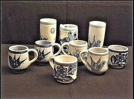 Mexico Pottery Cups Set of 9 pieces Vintage